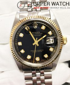 Rolex 1601 2 Tones Black Diamond Dial