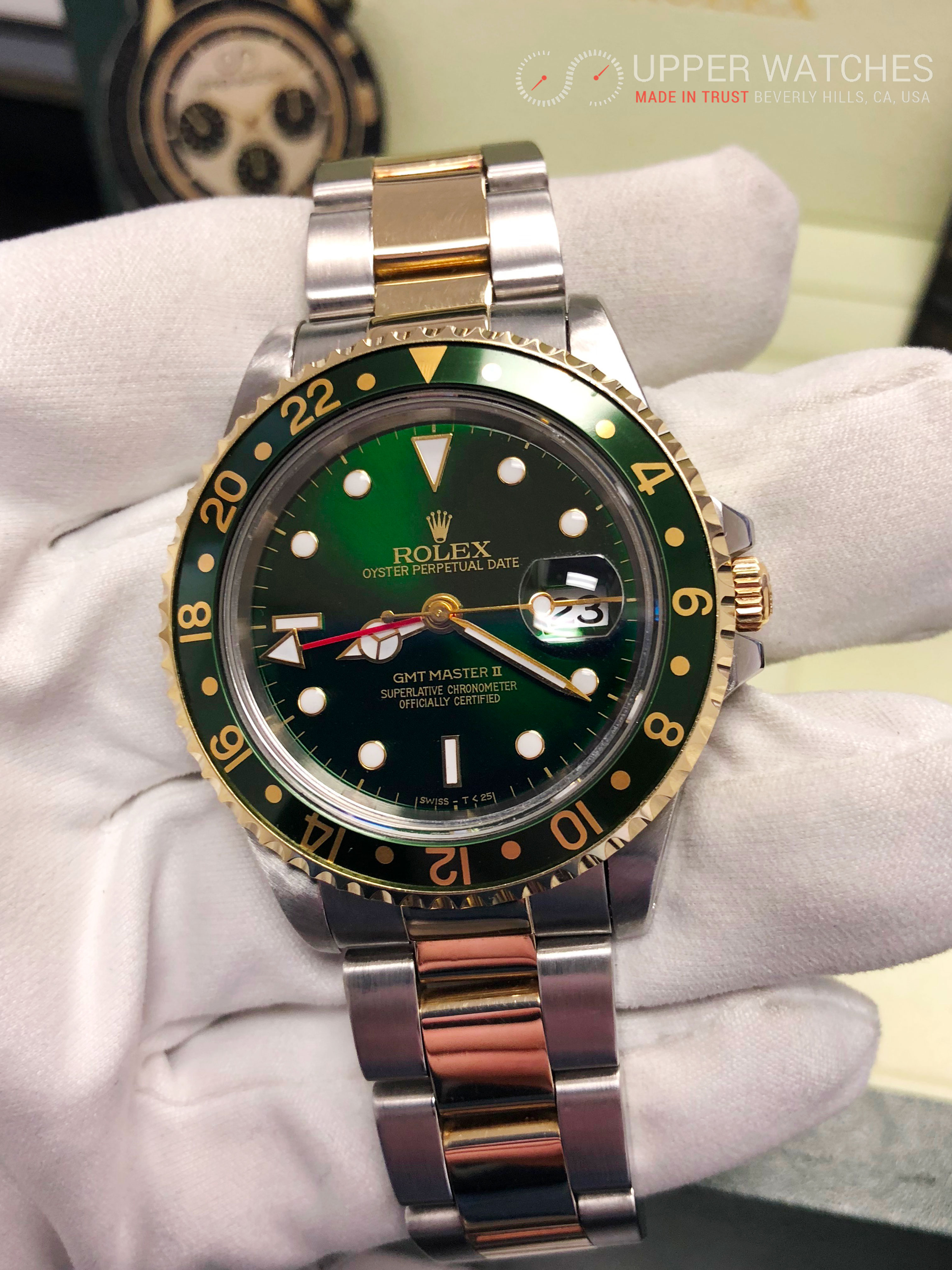 Rolex GMT MASTER II Gold & Stainless Steel 2 tones Green ...