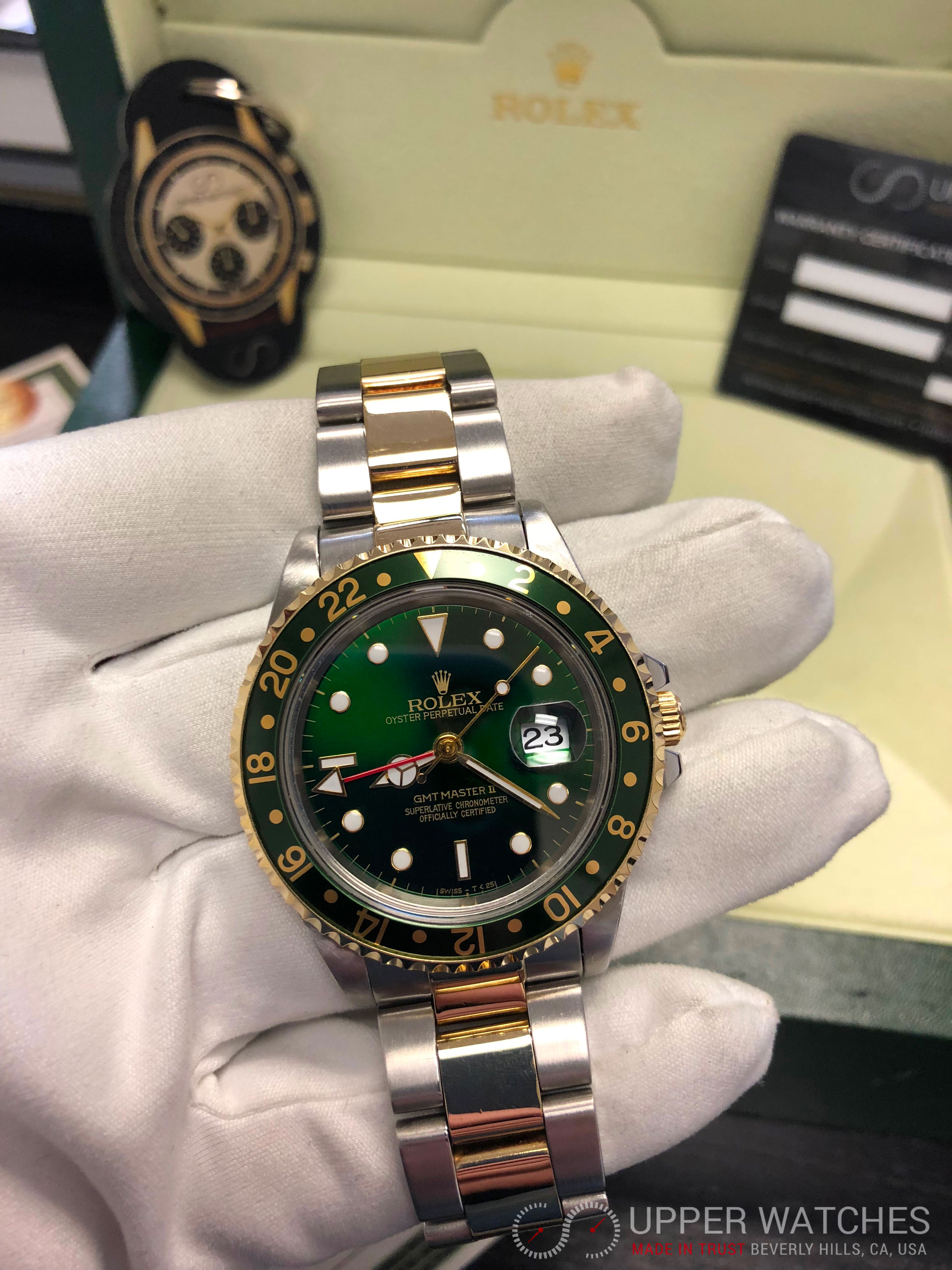 rolex gmt master ii gold amp stainless steel 2 tones green
