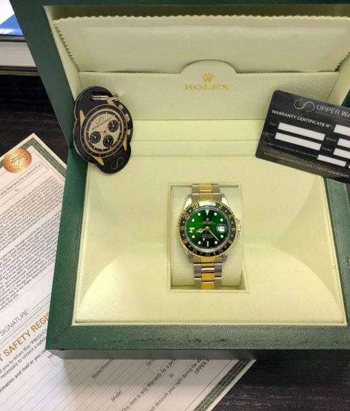 Rolex GMT MASTER II Green Hulk Dial two Tone 18K yellow Gold