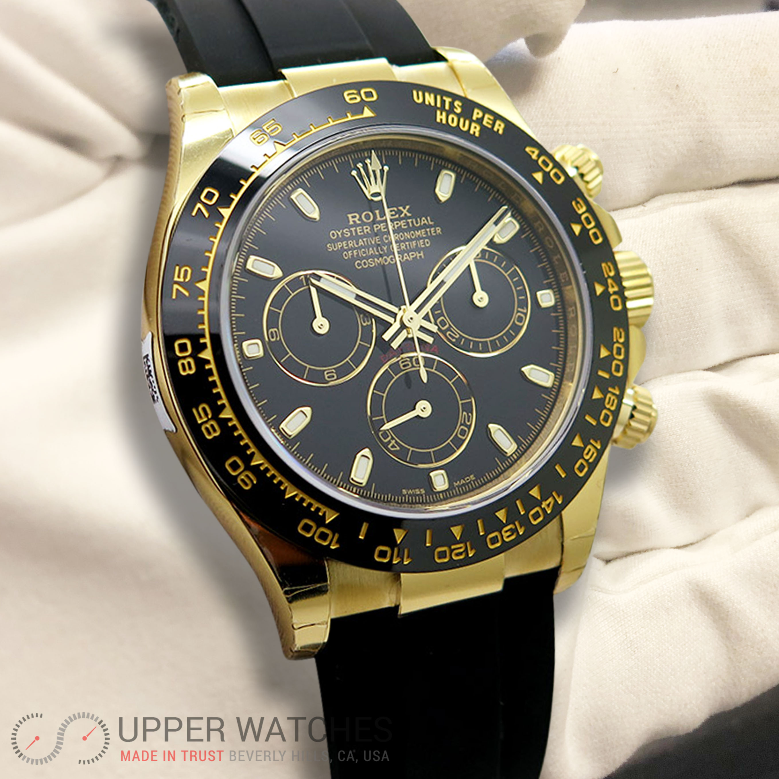 rolex 116518 ln cosmograph daytona 18k yellow gold with. Black Bedroom Furniture Sets. Home Design Ideas