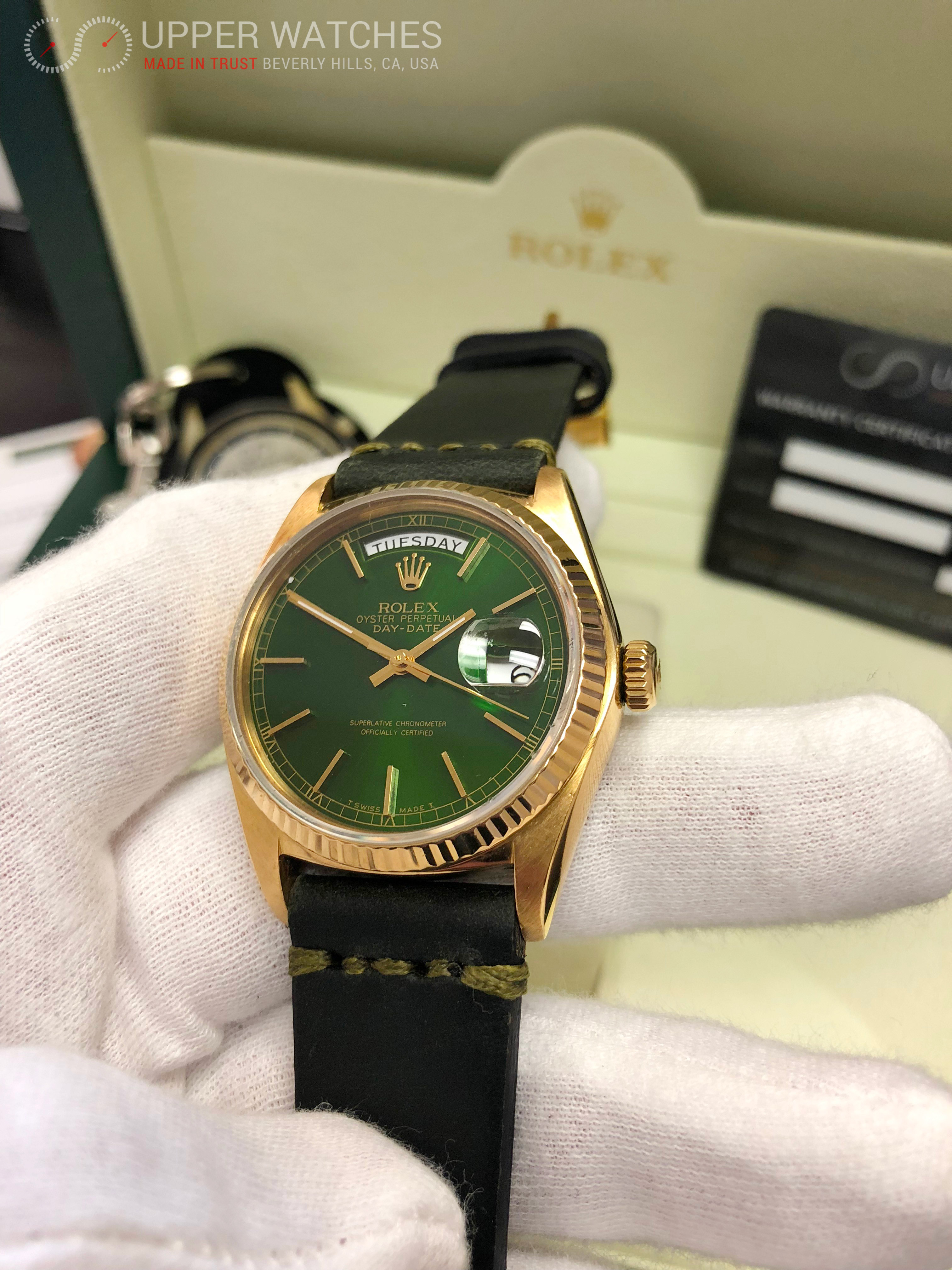 05,rolex,18038,gold,green,hulk,dial,leather,band,green
