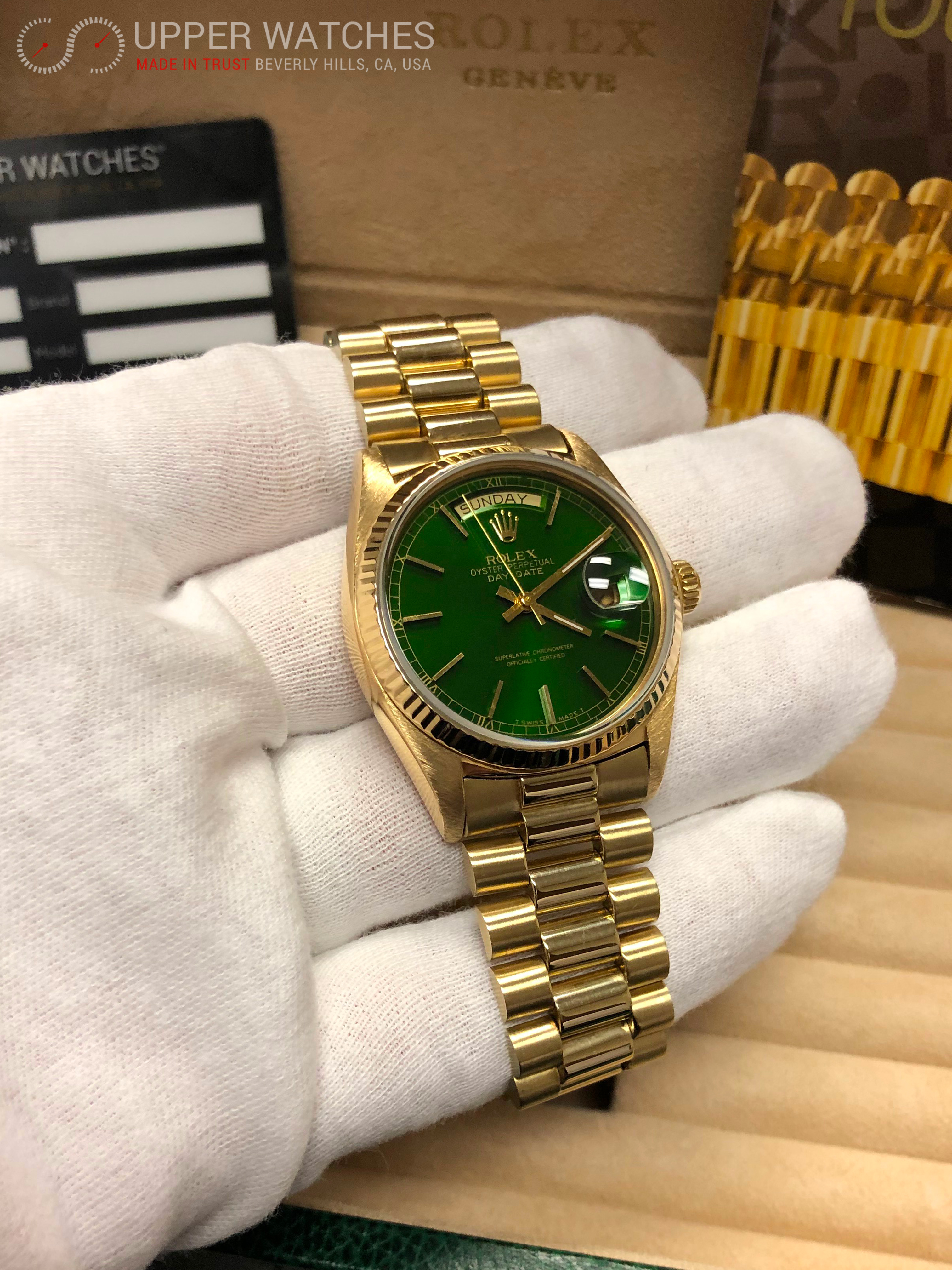 Rolex 18038 Oyster Perpetual Day Date 18k Yellow Gold Automatic Green Dial