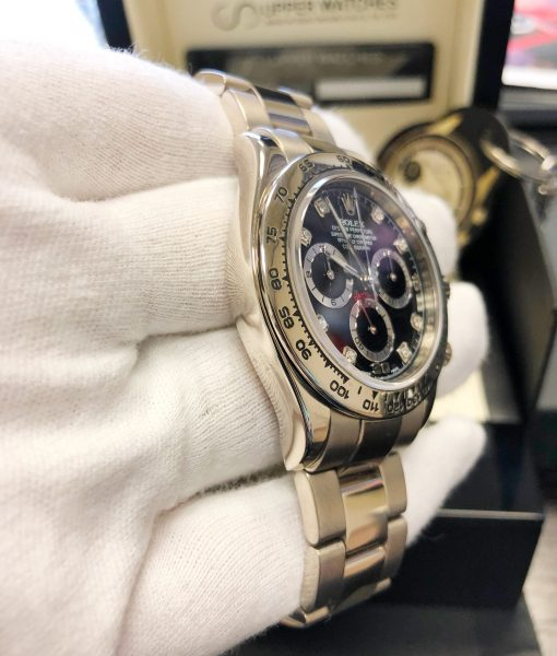 Rolex Daytona White Gold 116509 black diamond dial - Service papers